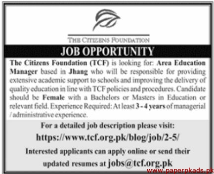 The Citizens Foundation (TCF) Jobs 2019 Latest