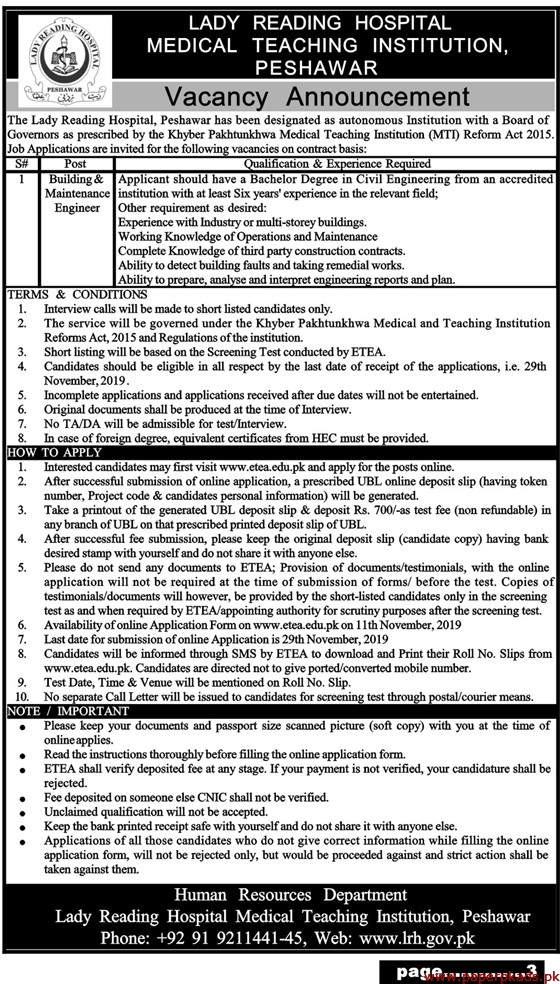 The Lady Reading Hospital Jobs 2019 Latest