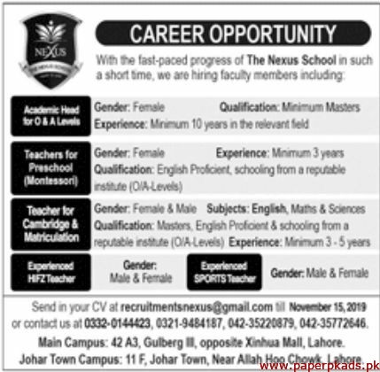 The Nexus School Jobs 2019 Latest