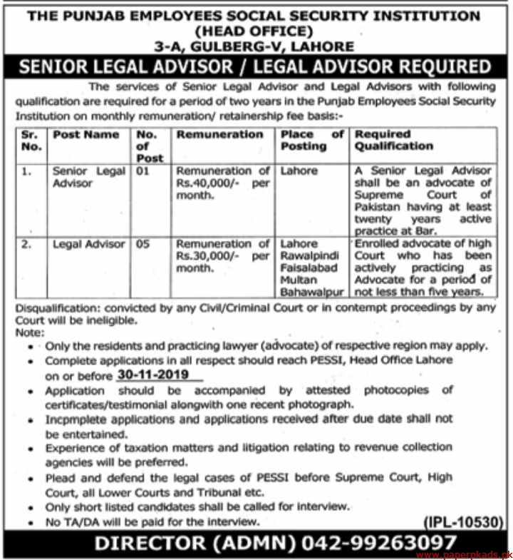 The Punjab Employees Social Security Institution Jobs 2019 Latest