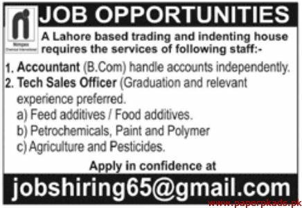 Trading and Indenting House Jobs 2019 Latest