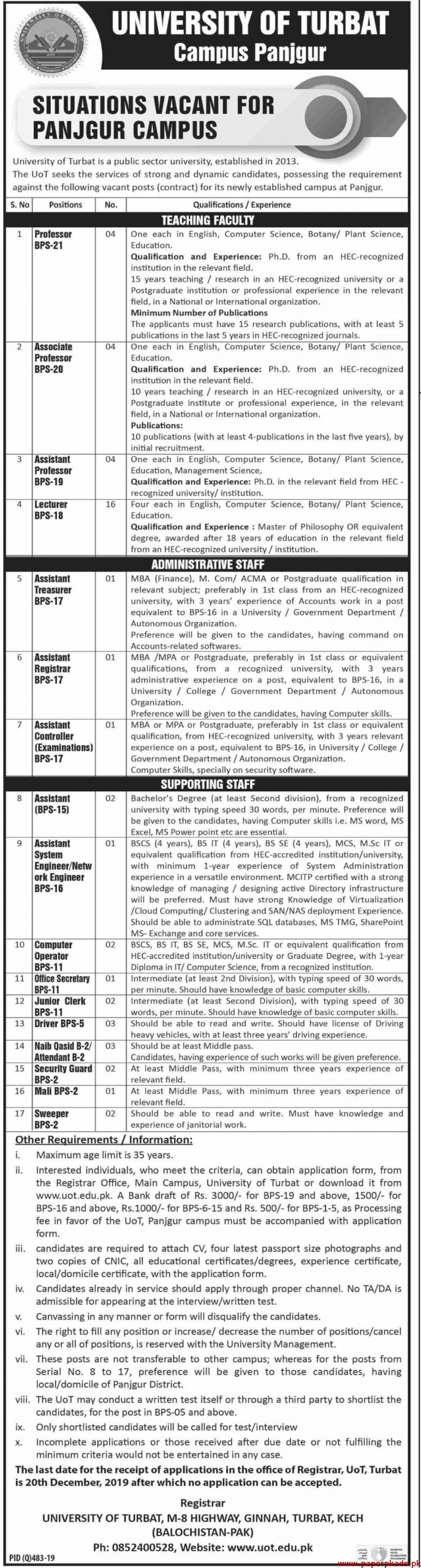 University of Turbat Jobs 2019 Latest