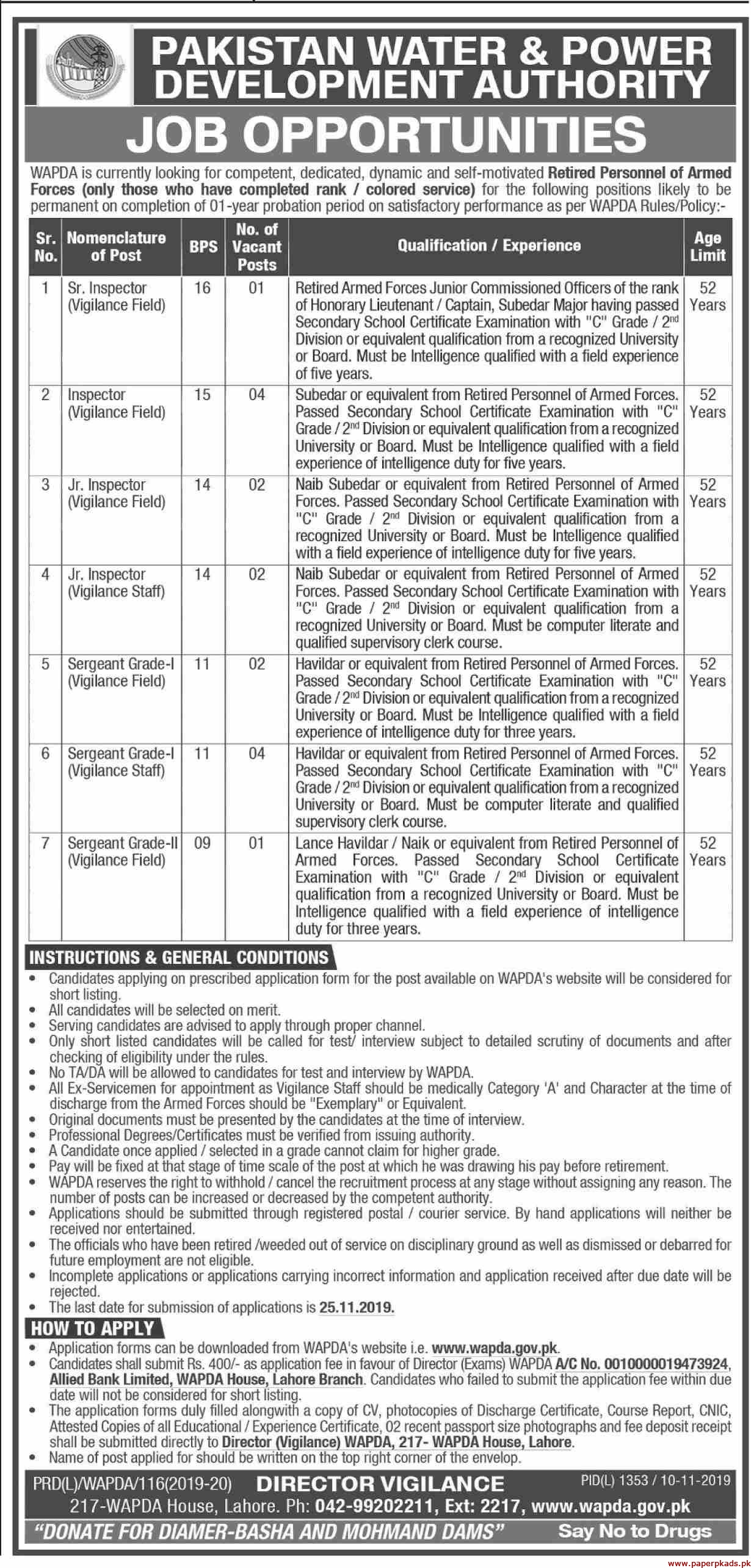 WAPDA Jobs 2019 Latest