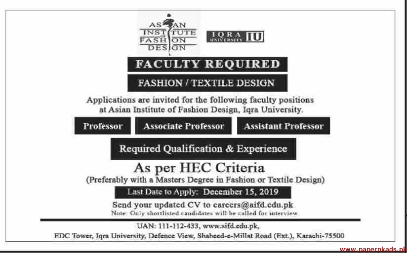 Professor Jobs In Asian Institute Of Fashion Design Aifd Vulearning Jobs