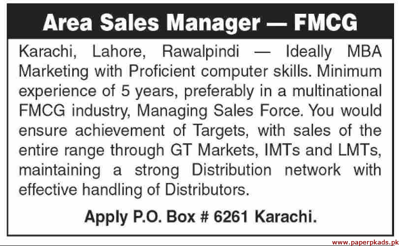FMCG Industry Jobs 2019 Latest