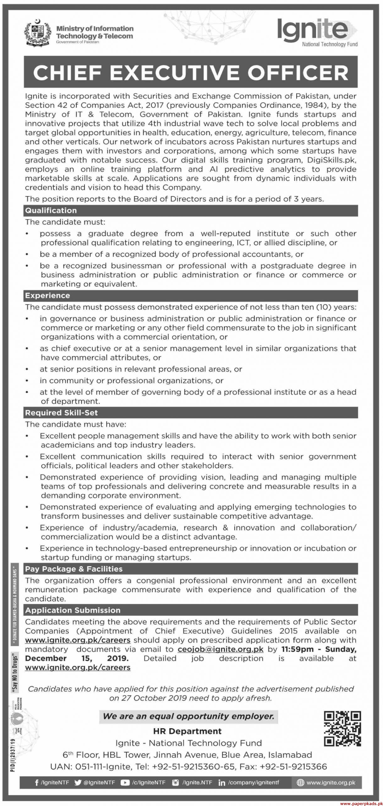 Government of Pakistan Ministry of Information Technology & Telecom Jobs 2019 Latest
