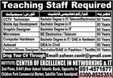 Institute Center of Excellence in Networking & IT Jobs 2019 Latest