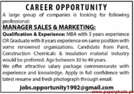 Large Group of Companies Jobs 2019 Latest
