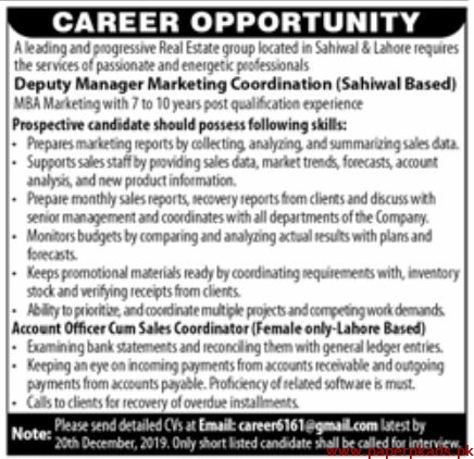 Leading and Progressive Real Estate Group Jobs 2019 Latest