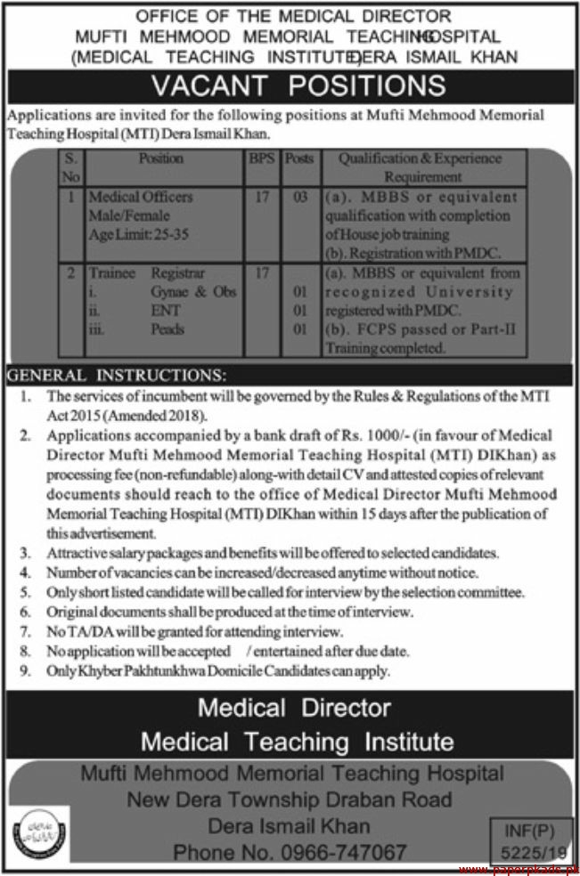 Mufti Mehmood Memorial Teaching Hospital Jobs 2019 Latest