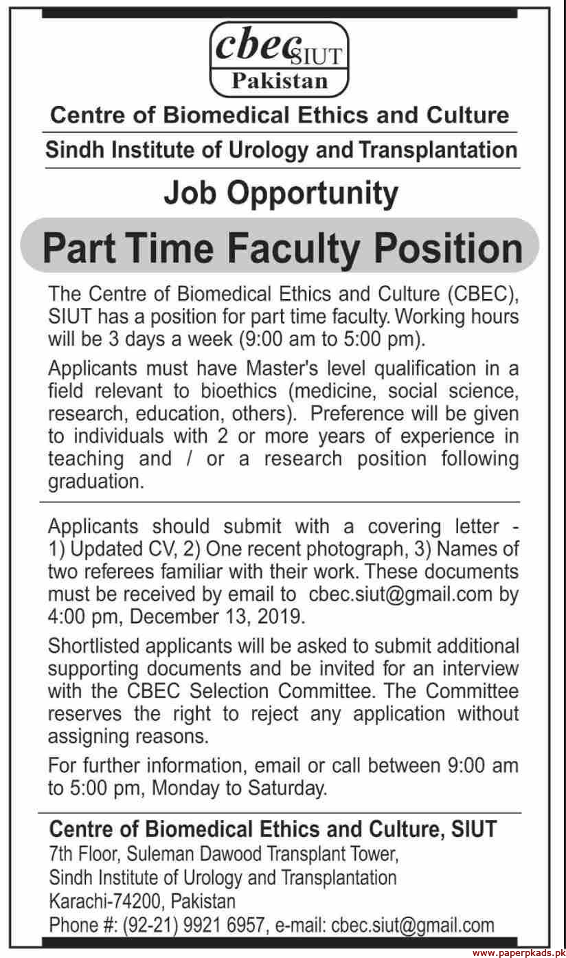 Sindh Institute of Urology and Transplantation Jobs 2019 Latest