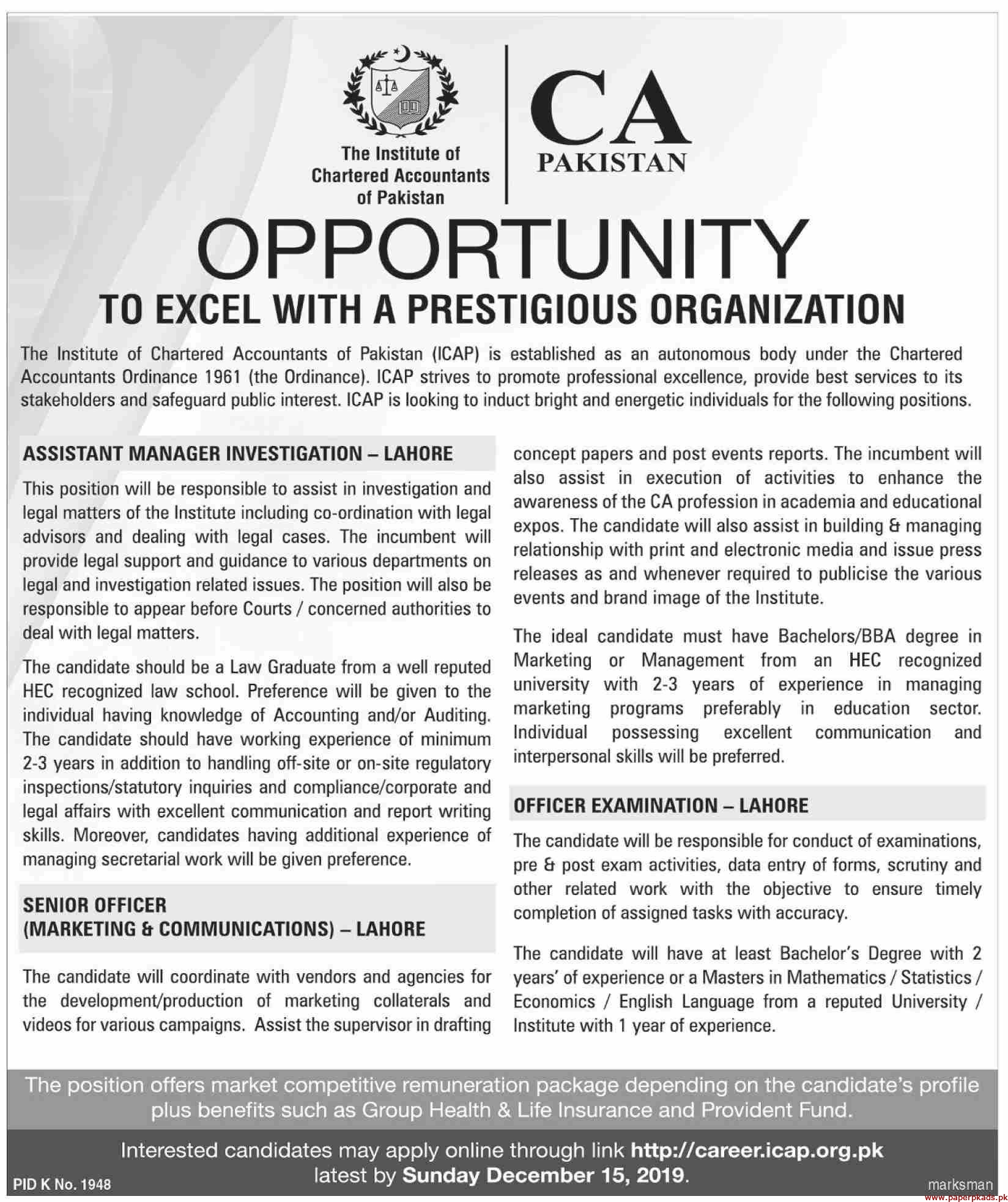 The Institute of Chartered Accountants of Pakistan Jobs 2019 Latest