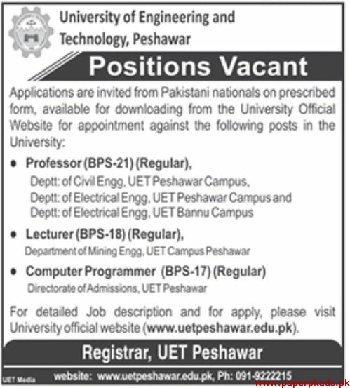 University of Engineering and Technology Peshawar Jobs 2019 Latest