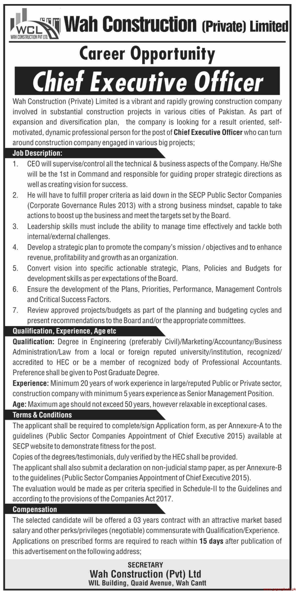 Wah Construction Private Limited Jobs 2019 Latest