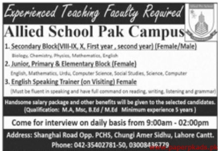 Allied School Staff Required