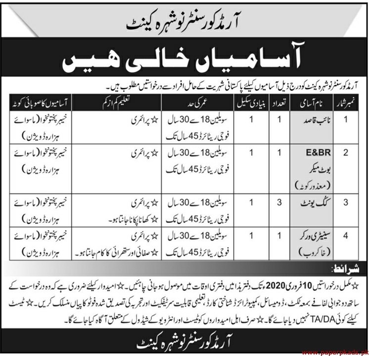 Armed Core Center Nowshera Jobs 2020 Latest