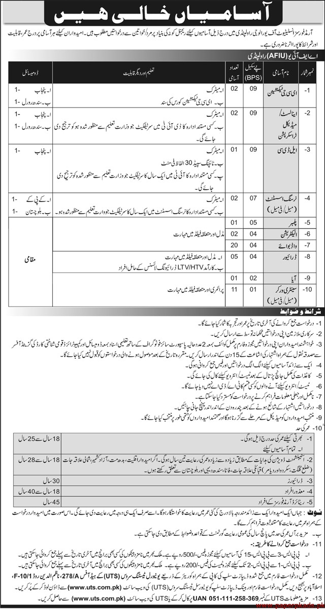 Armed Forces Institute of Urology Rawalpindi Jobs 2020 Latest