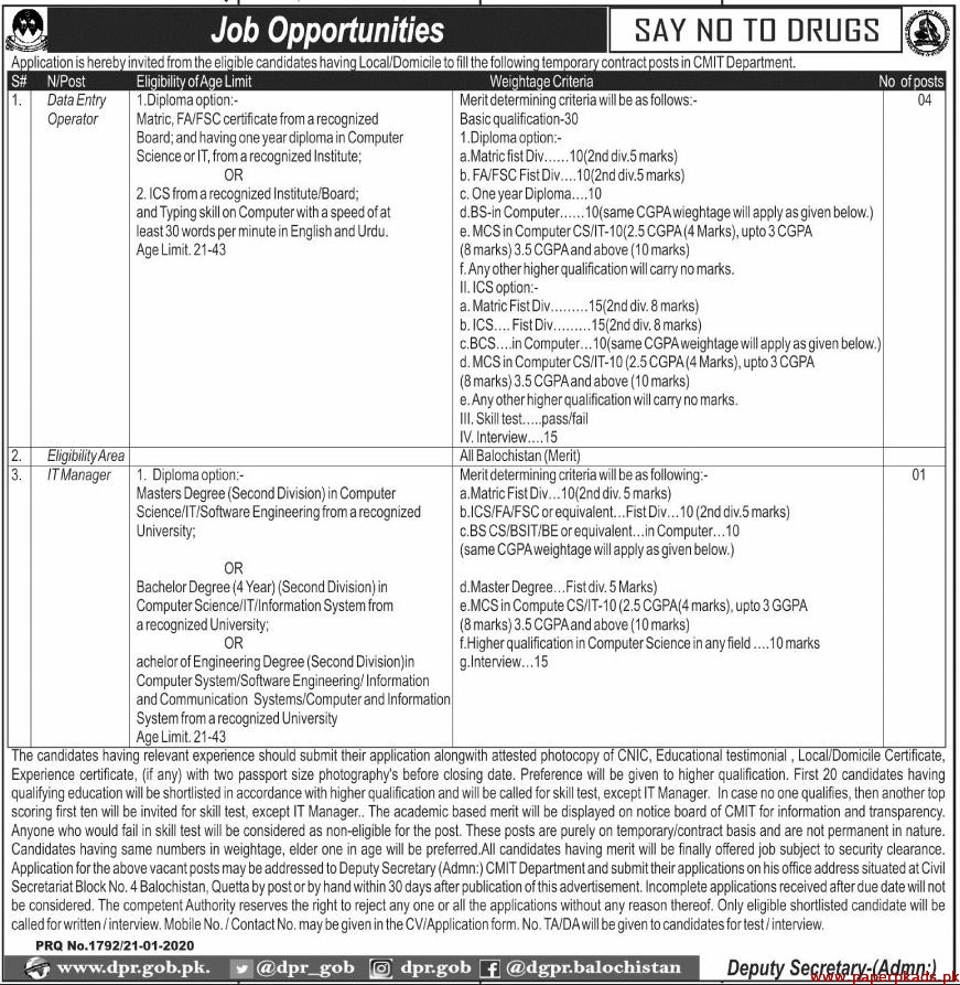 CMIT Department Jobs 2020 Latest