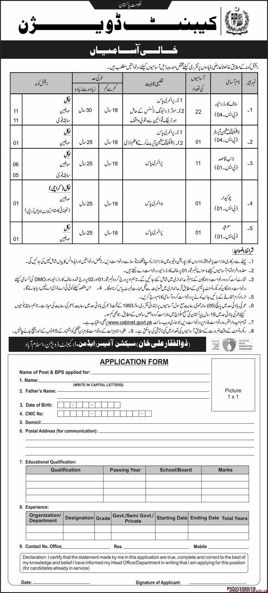 Cabinet Division Government of Pakistan Jobs 2020 Latest