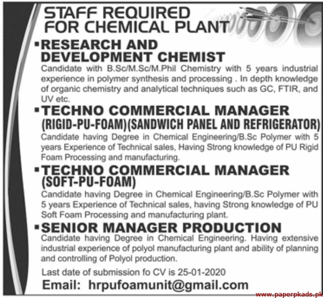 Chemical Plant Jobs 2020 Latest