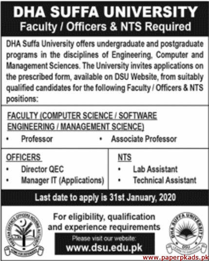 DHA Suffa University Jobs 2020 Latest