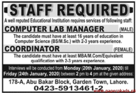 Educational Institutions Jobs 2020 Latest