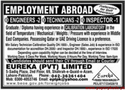 Eureka Pvt Limited Jobs 2020 Latest