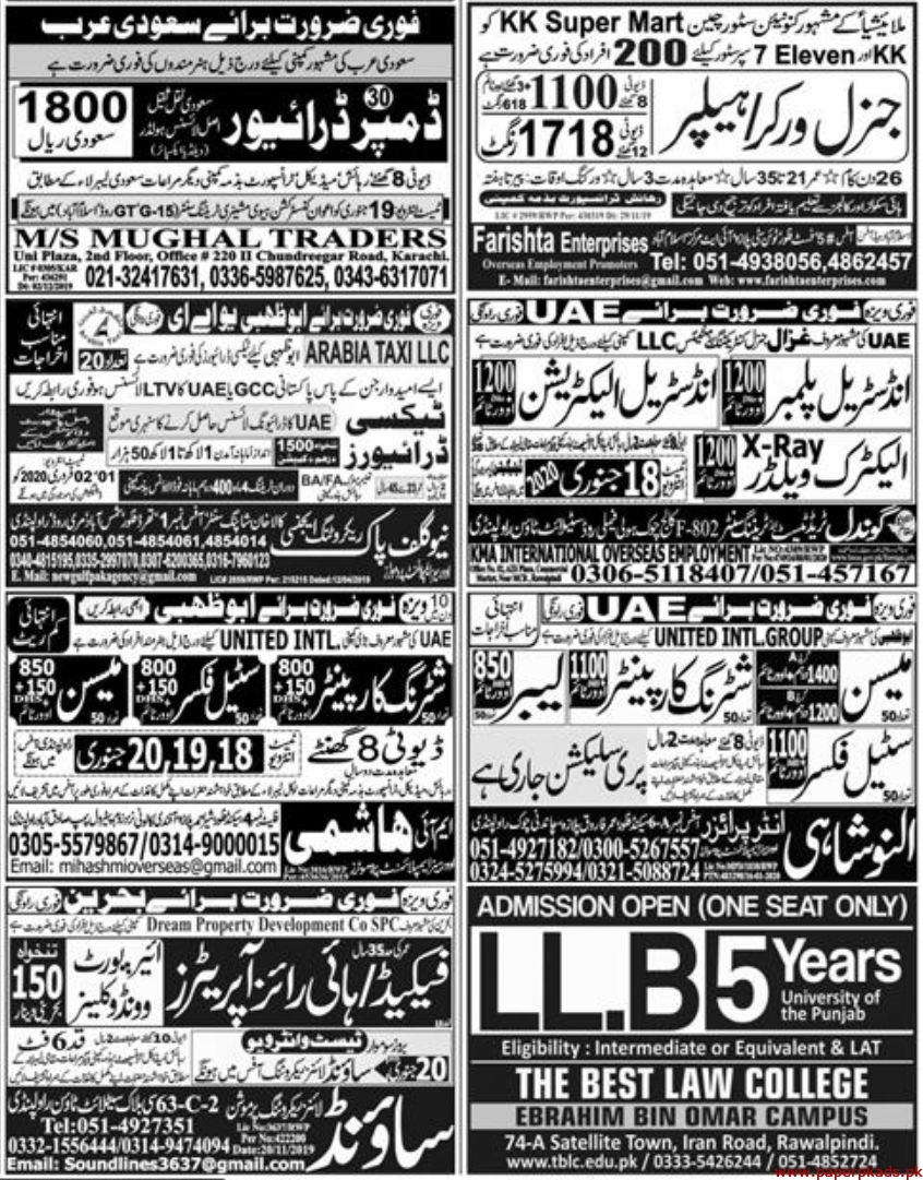 Express Newspaper Jobs 17 January 2020 Latest
