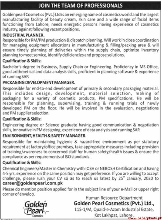 Goldenpearl Cosmetics Pvt Ltd Jobs 2020 Latest