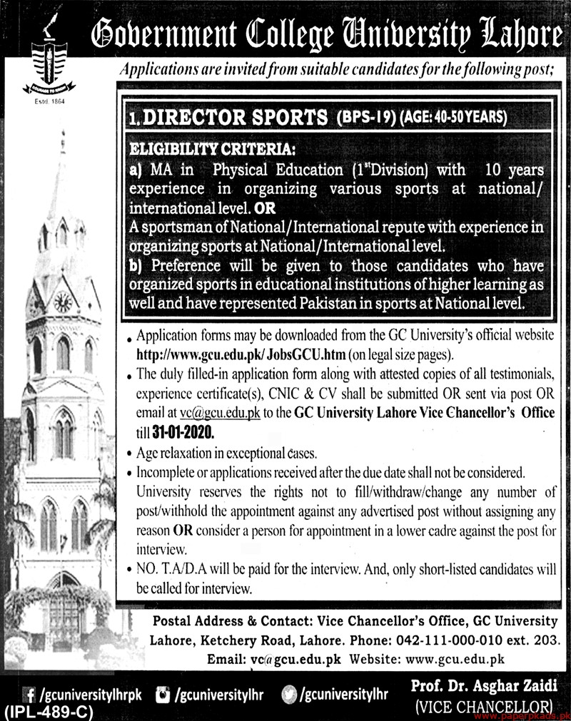 Government College University Lahore Jobs 2020 Latest