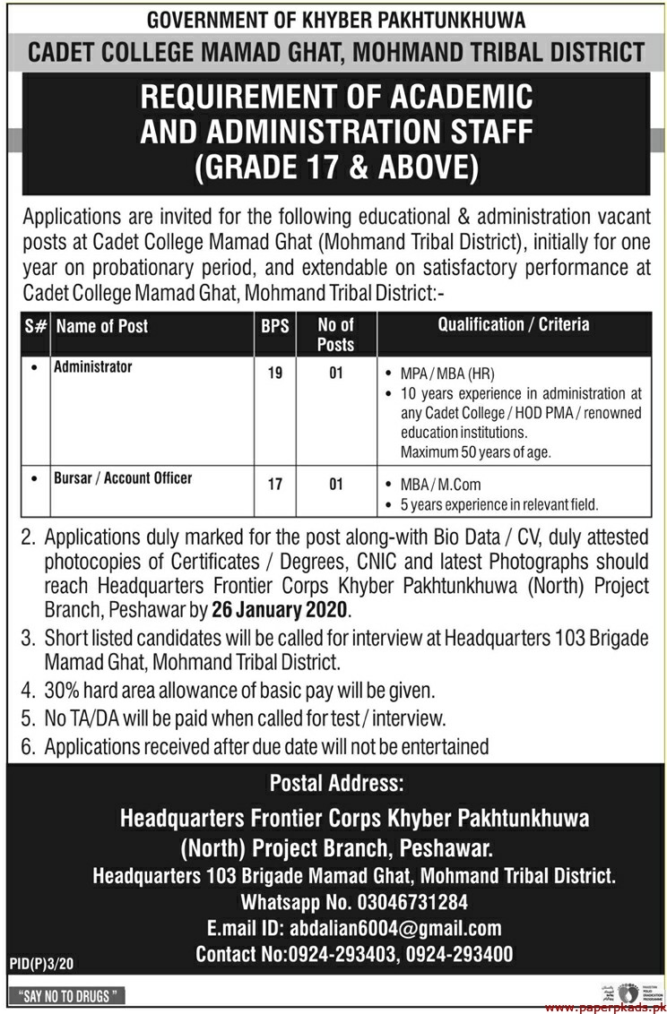 Government of Khyber Pakhtunkhuwa Cadet College Mamad Ghat Jobs 2020 Latest