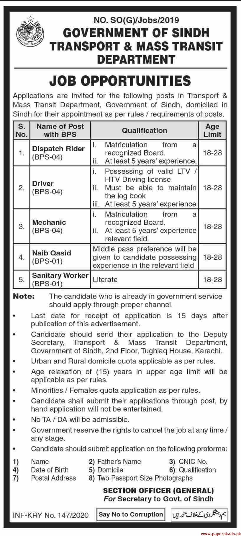 Government of Sindh Transport & Mass Transit Department Jobs 2020 Latest