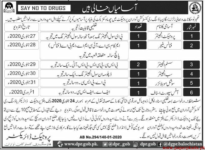 Housing Reconstruction Balochistan Jobs 2020 for Engineers, Manager, Social Mobilizers & Office Support Staff Latest