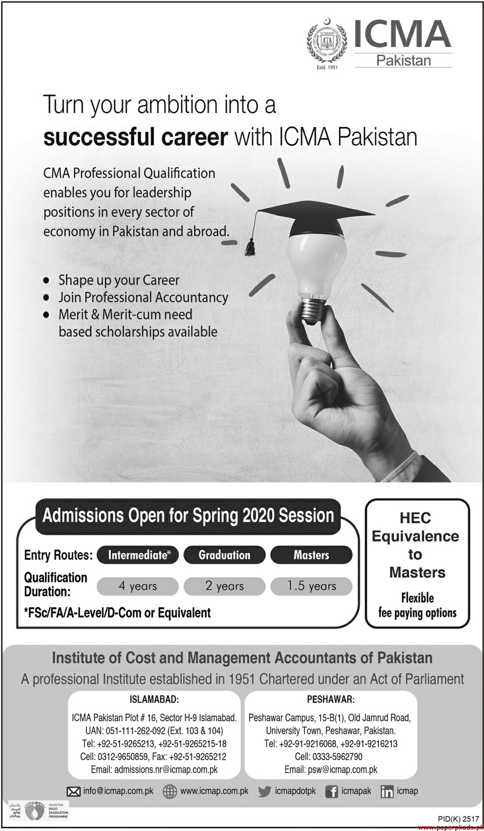 ICMA Pakistan Jobs 2020 Latest