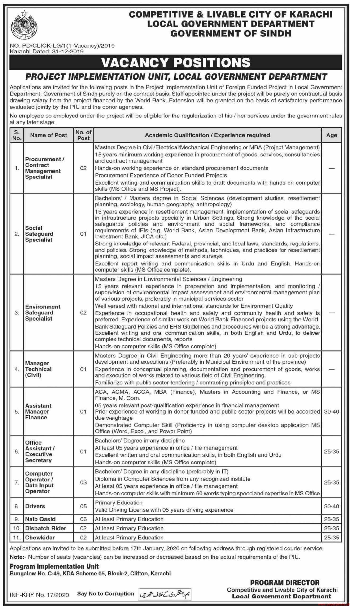 Local Government Department Government of Sindh Jobs 2020 Latest