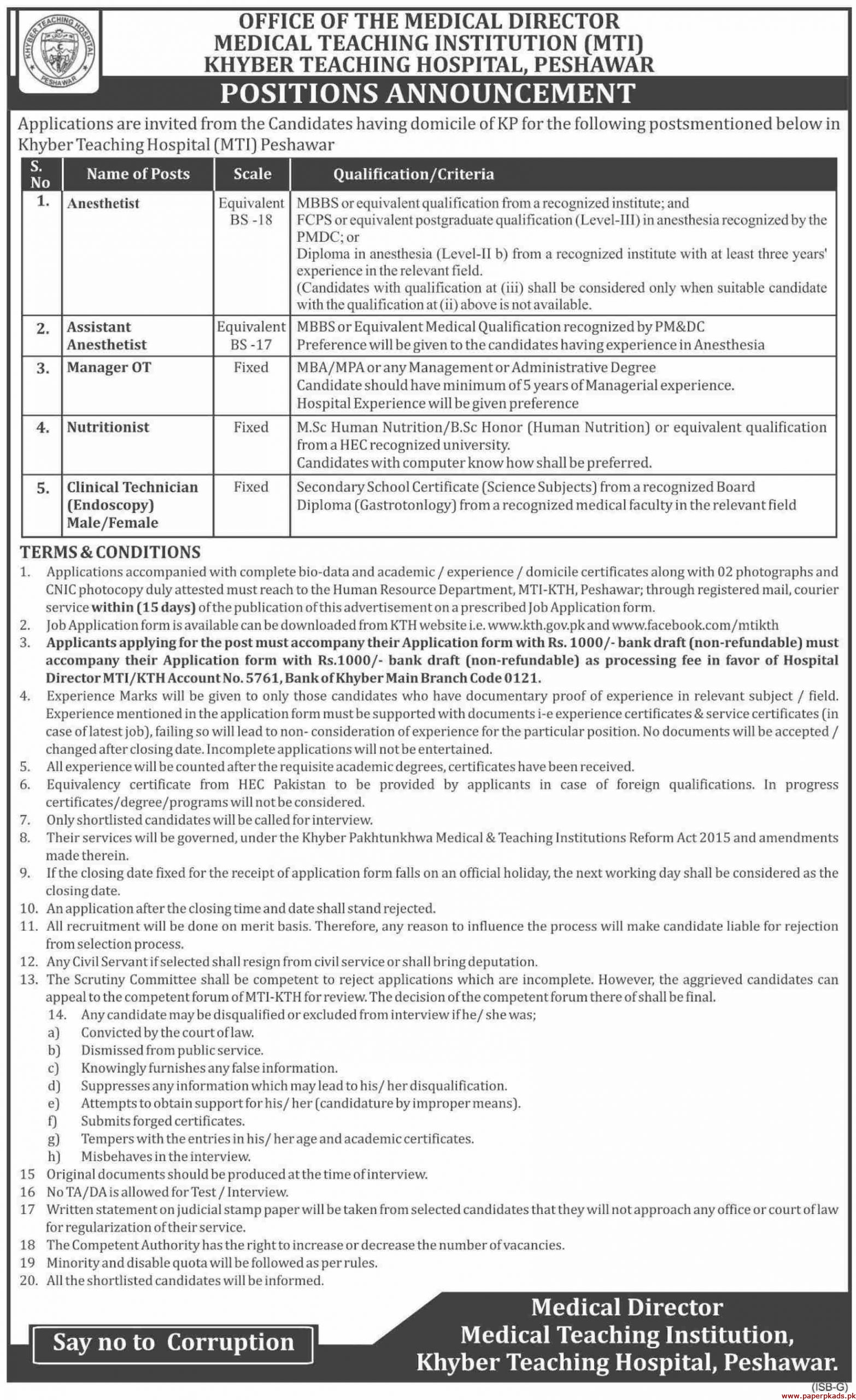 Medical Teaching Institution MTI Jobs 2020 Latest