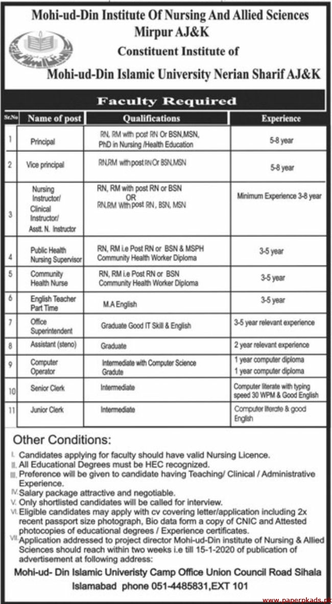 Mohi ud Din Institute of Nursing and Allied Sciences Mirpur AJ&K Jobs 2020 Latest