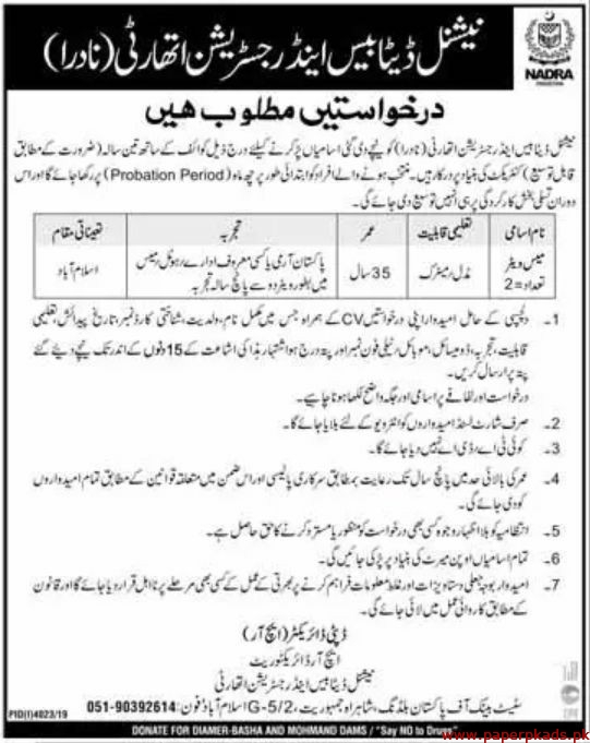 National Database and Registration Authority NADRA Jobs 2020 Latest