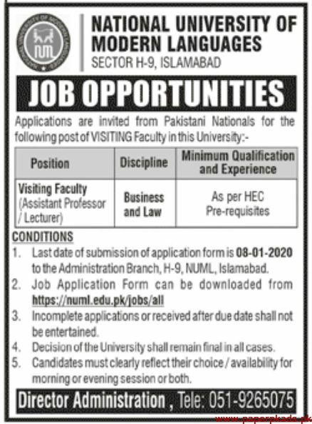 National University of Modern Languages Jobs 2020 Latest