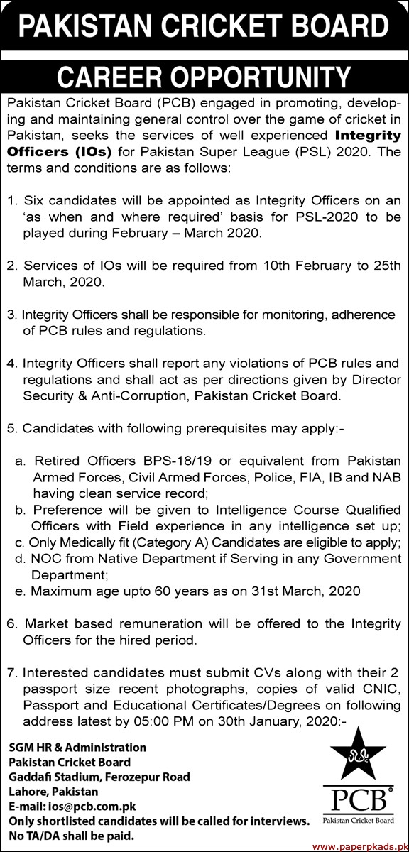 Pakistan Cricket Board PCB Jobs 2020 Latest