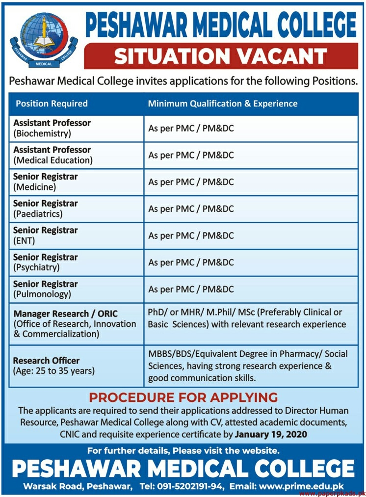 Peshawar Medical College Jobs 2020 Latest
