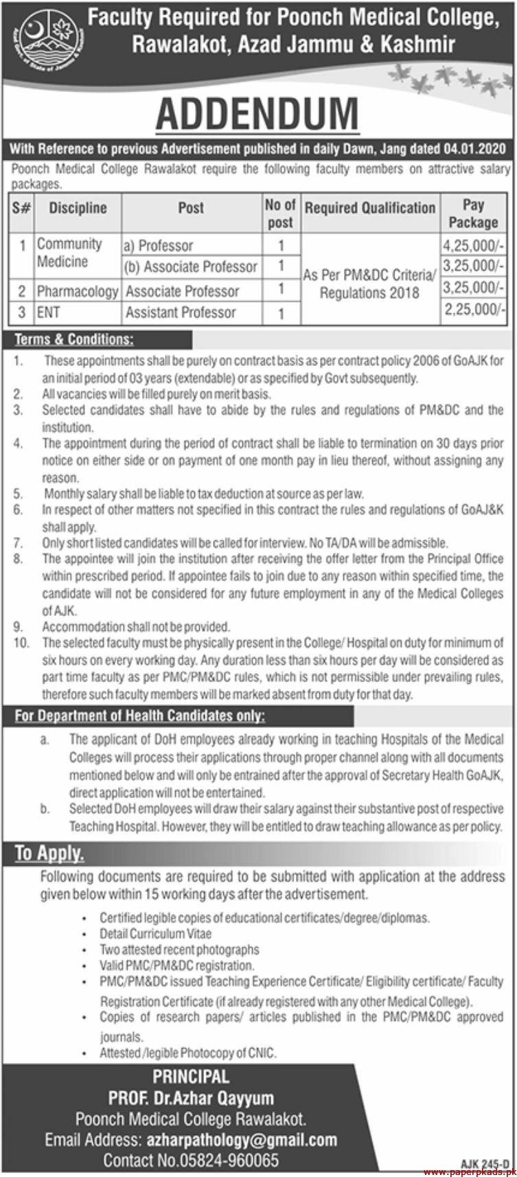 Poonch Medical College Jobs 2020 Latest