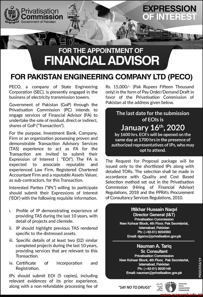 Privatisation Commission Government of Pakistan Jobs 2020 Latest