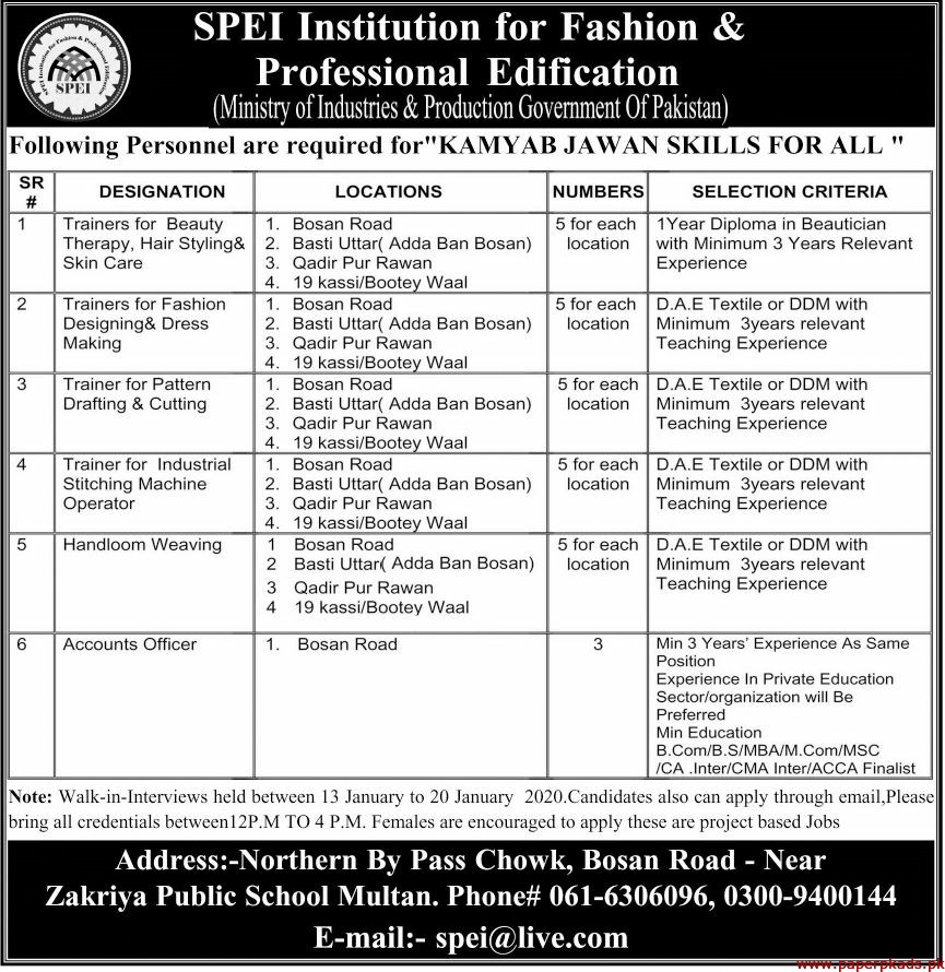 SPEI Institution for Fashion & Professional Edification Government of Pakistan Jobs 2020 Latest