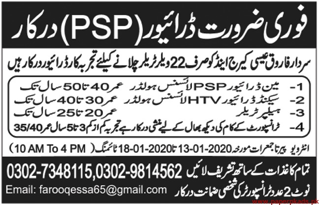 Sardar Farooq Esha Carriage & Co Jobs 2020 Latest