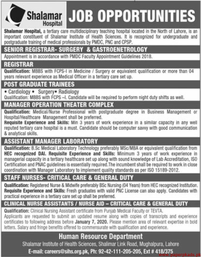 Shalamar Hospital Jobs 2020 Latest