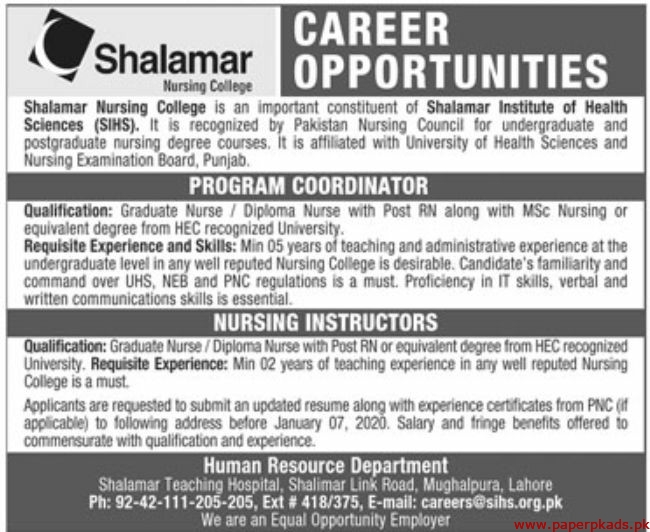 Shalamar Nursing College Jobs 2020 Latest