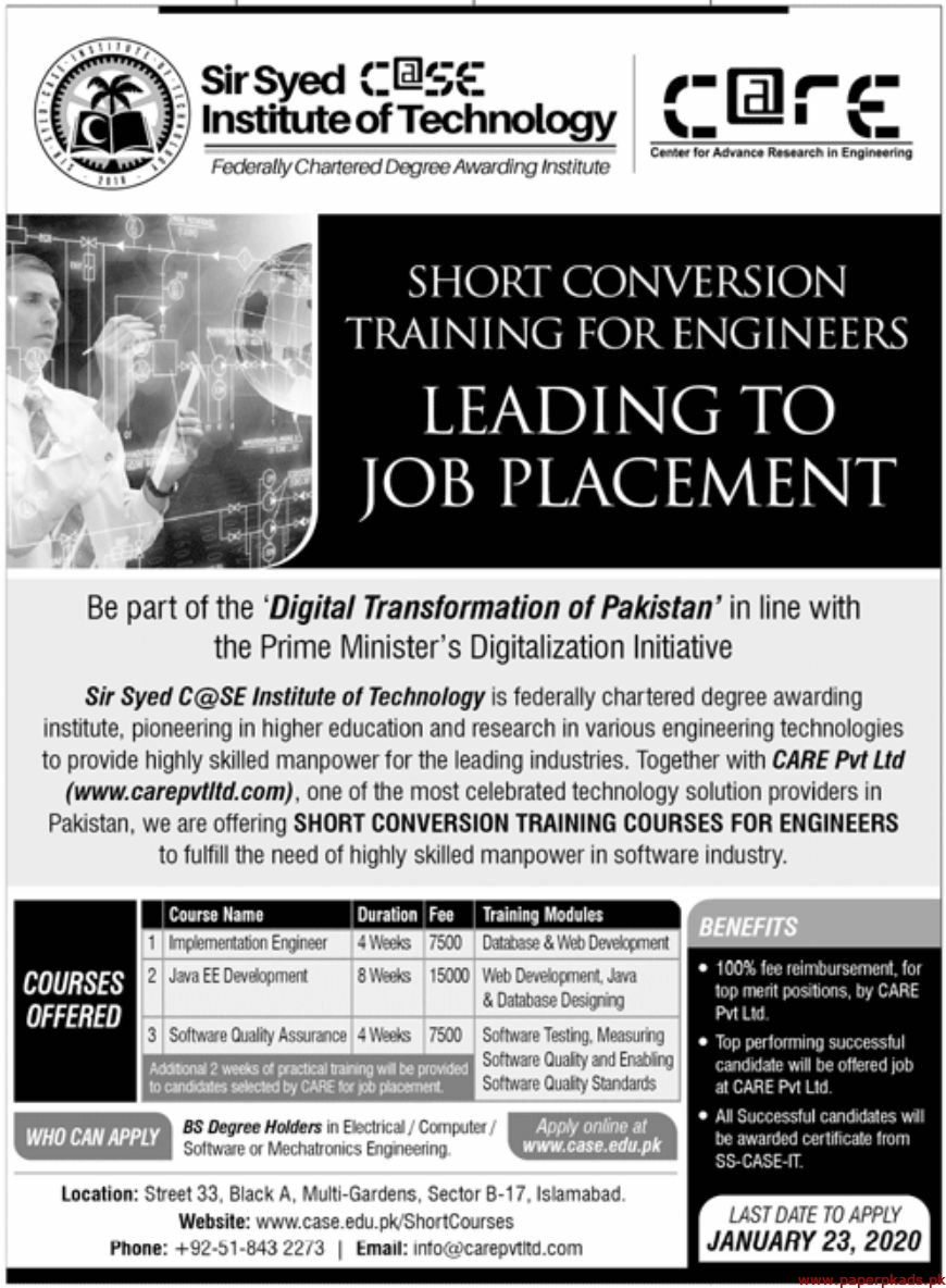 Sir Syed CASE Institute of Technology Jobs 2020 Latest