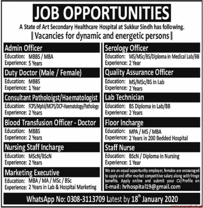 State of Art Secondary Healthcare Hospital Jobs 2020 Latest