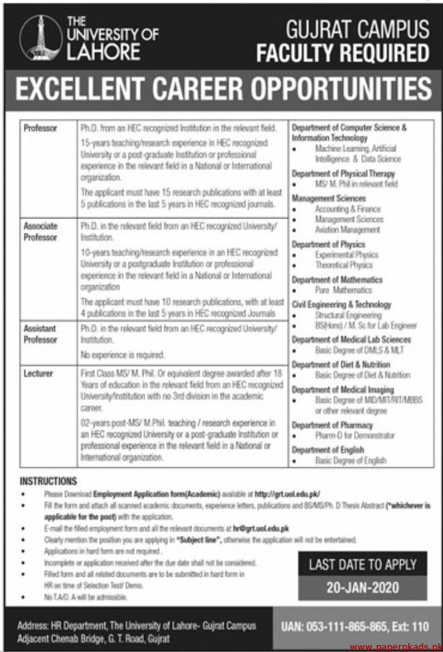 The University of Lahore Jobs 2020 Latest